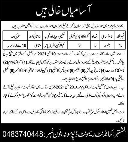 Pak Army Remount Depot Jobs 2021 in Sargodha for Nalband