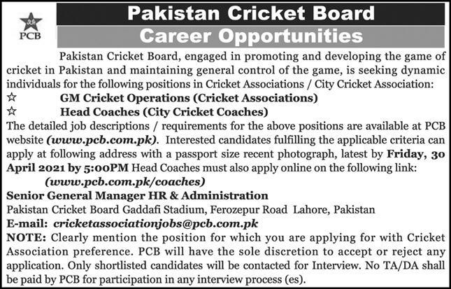Pakistan Cricket Board PCB Latest Jobs 2021 For Management Staff