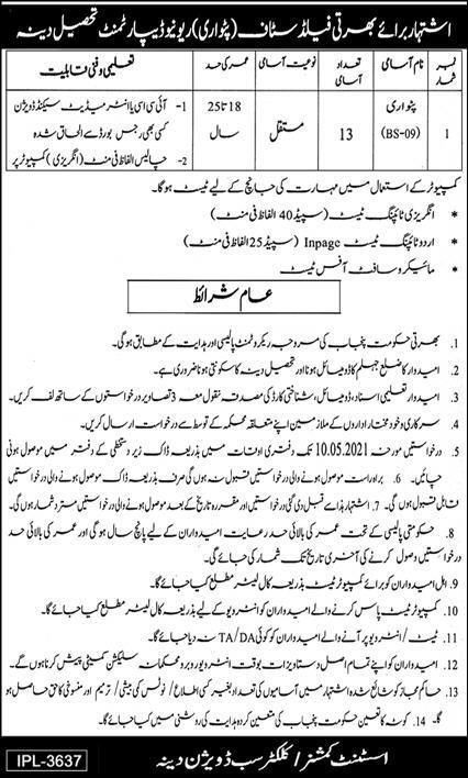 Revenue Department Patwari Jobs 2021 in Dina