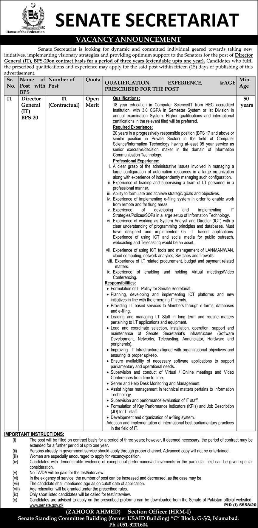 Senate Secretariat New Job 2021 For Director General IT in Islamabad