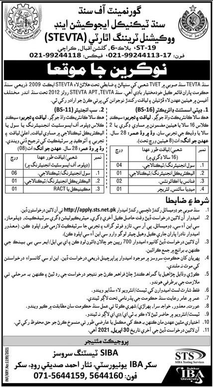 Sindh TEVTA Sub Engineer Jobs 2021, Civil Engineer