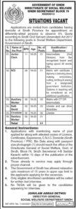 Social Welfare Department Jobs 2021 in Karachi for Clerk