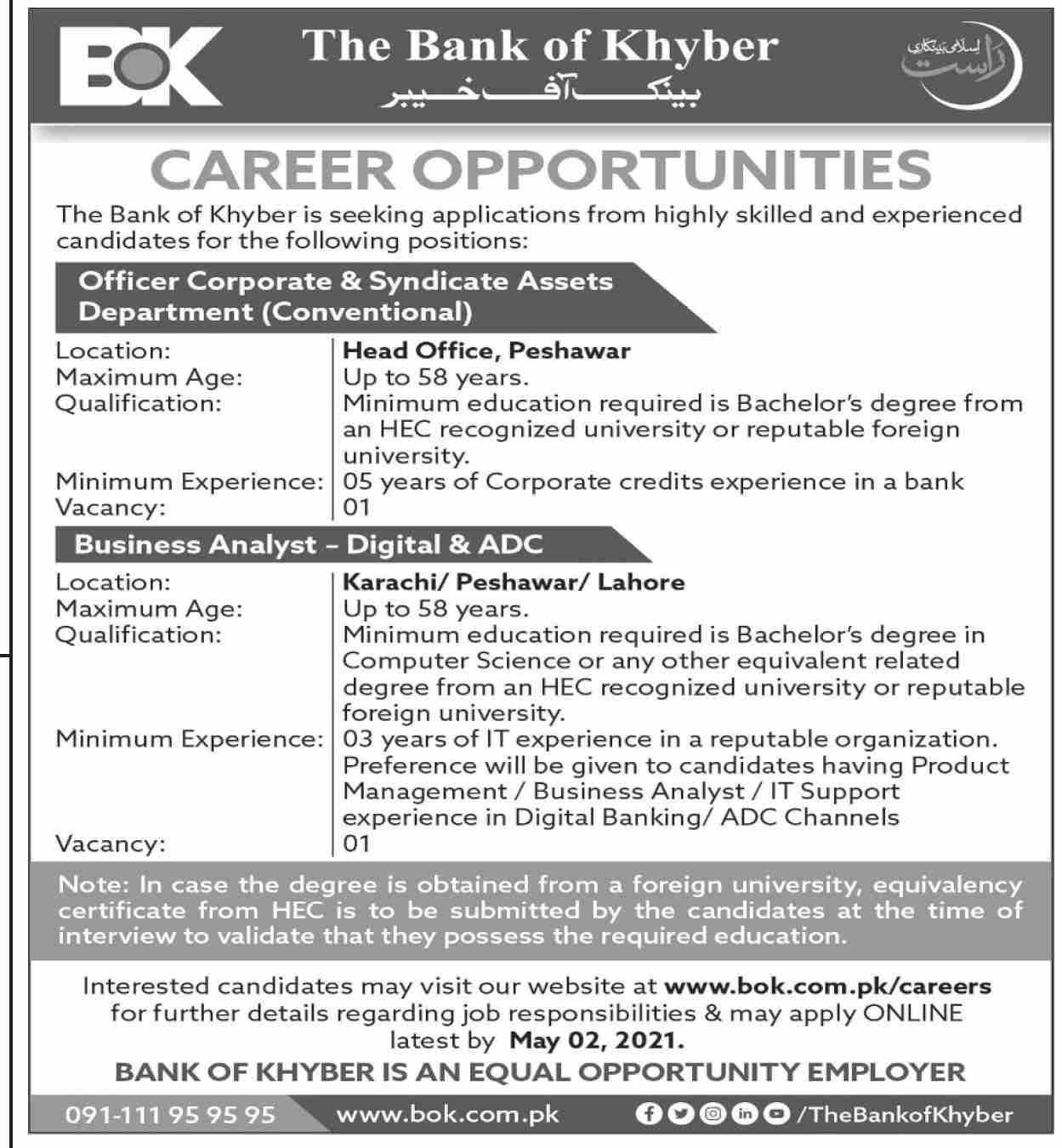 The Bank of Khyber BOK Jobs 2021 For Management Staffing