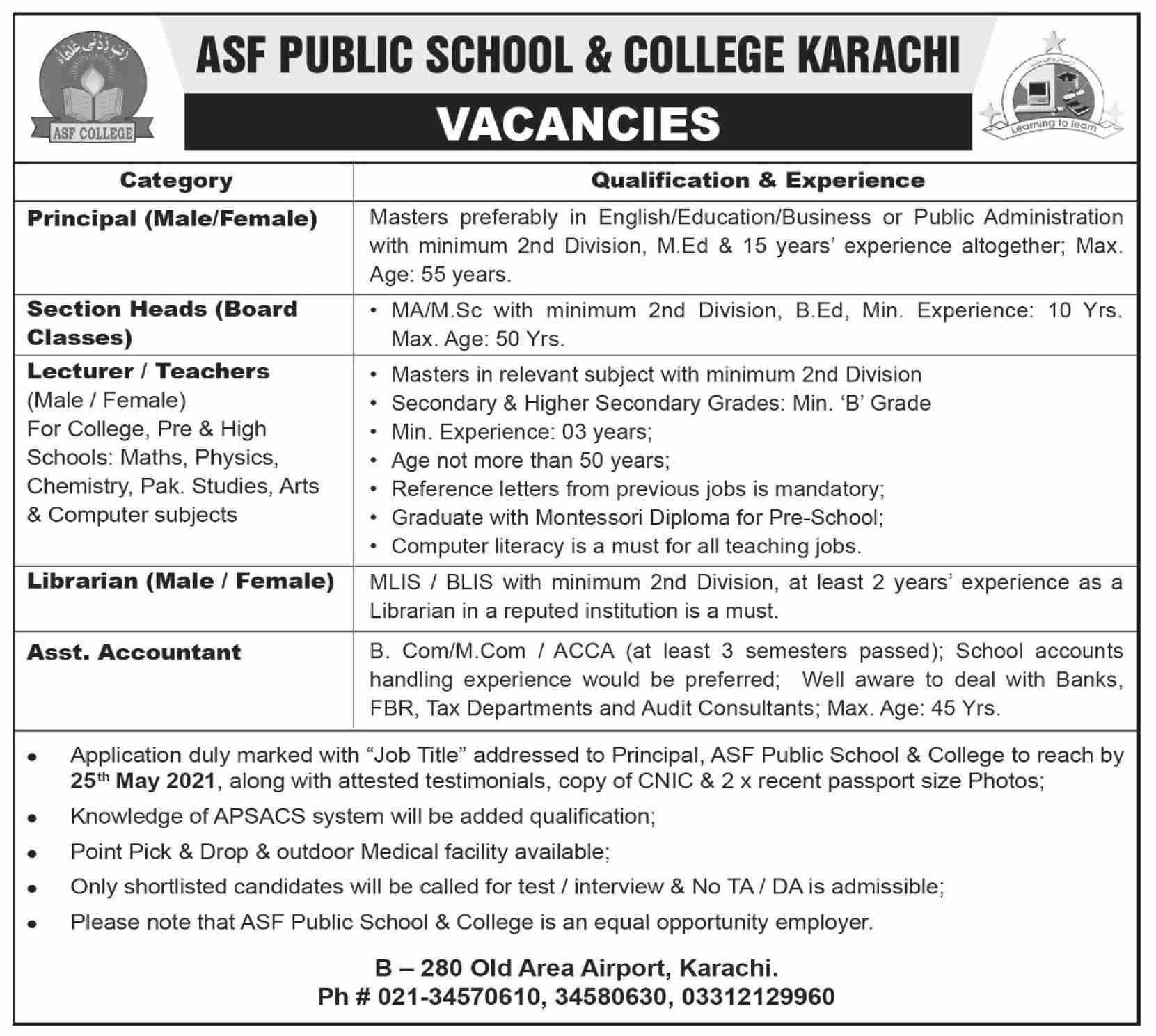 ASF Public School & College Karachi Jobs 2021 for Teaching