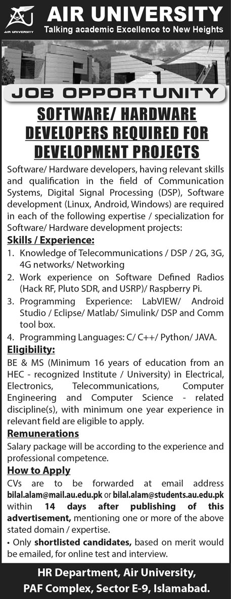 Air University Latest Jobs 2021 For Software and Hardware Developers