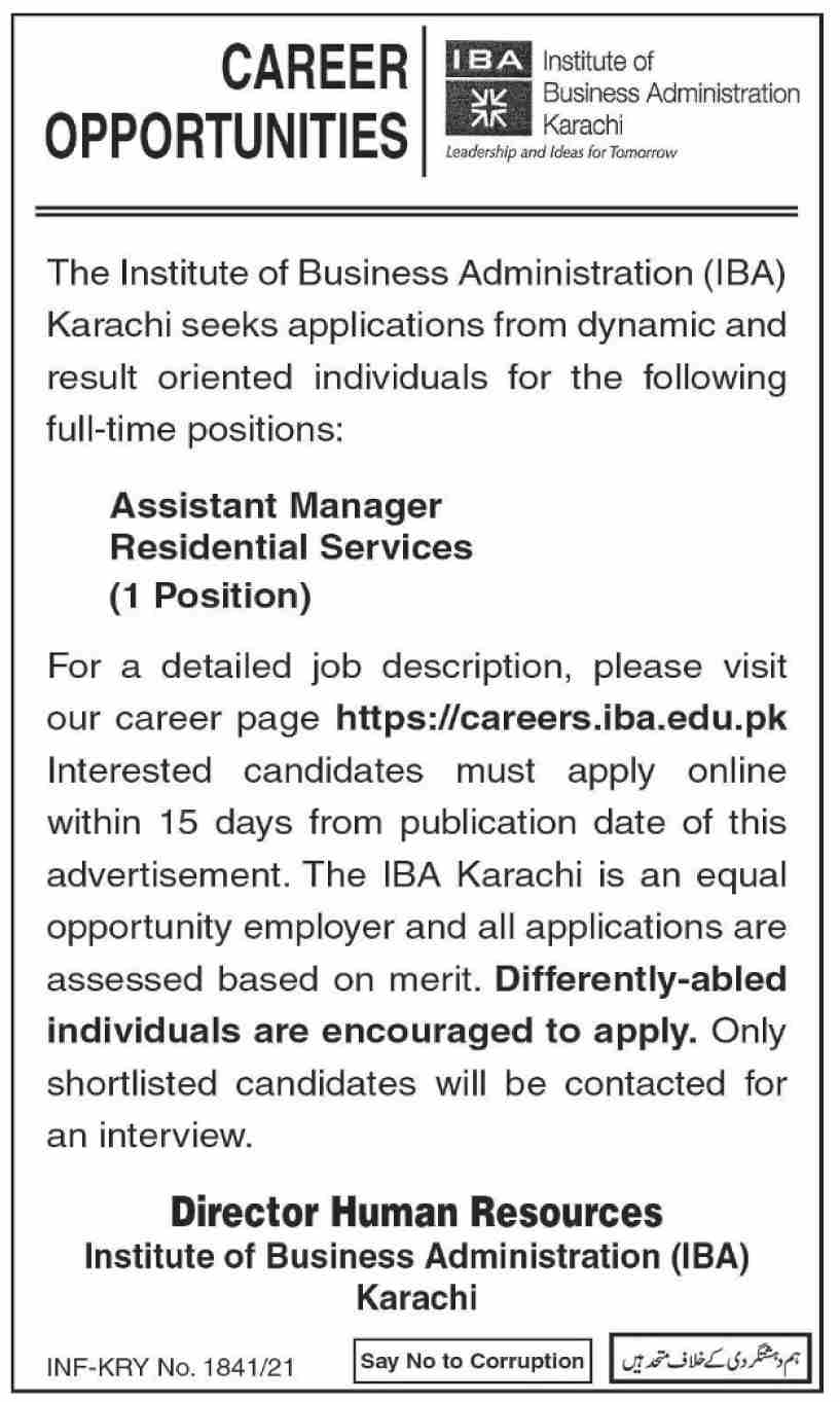 Assistant Manager Jobs 2021 in IBA