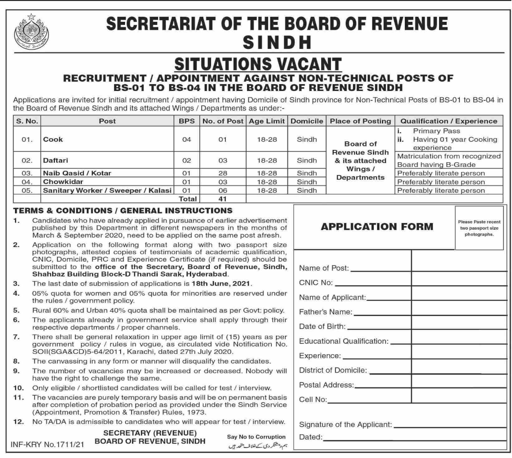 Board of Revenue Latest Jobs 2021 at Sindh Secretariat