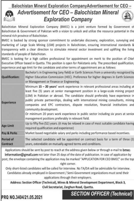 CEO Quetta Balochistan Jobs 2021