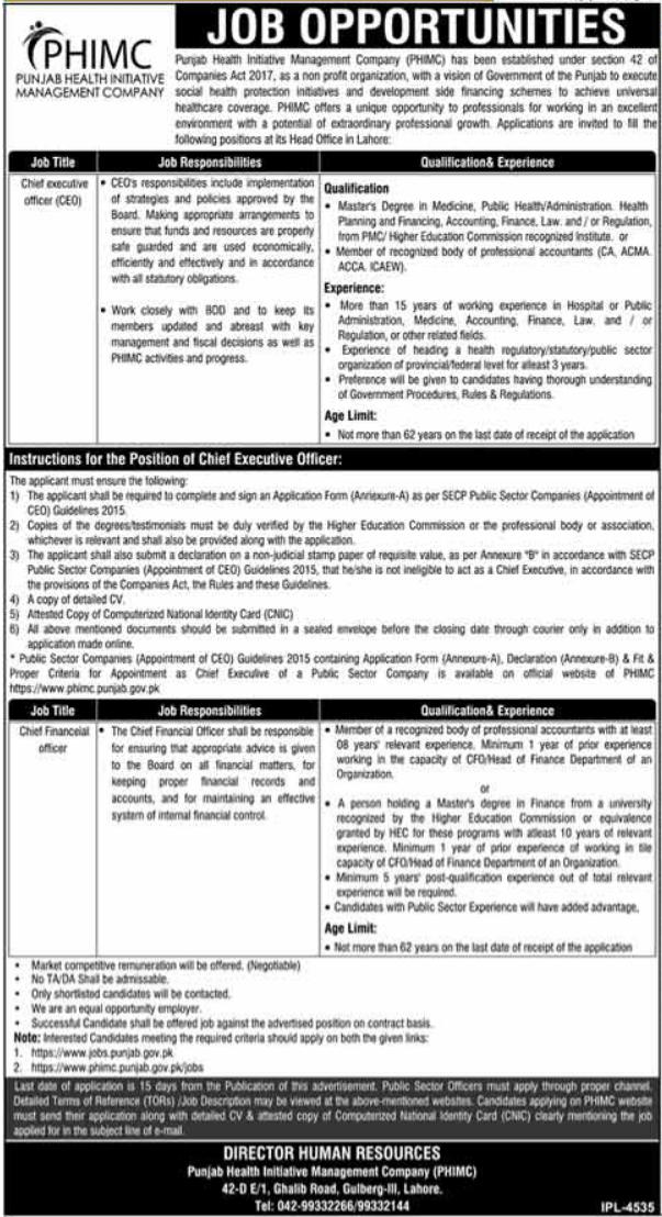 Chief Executive Officer Jobs in Lahore 2021