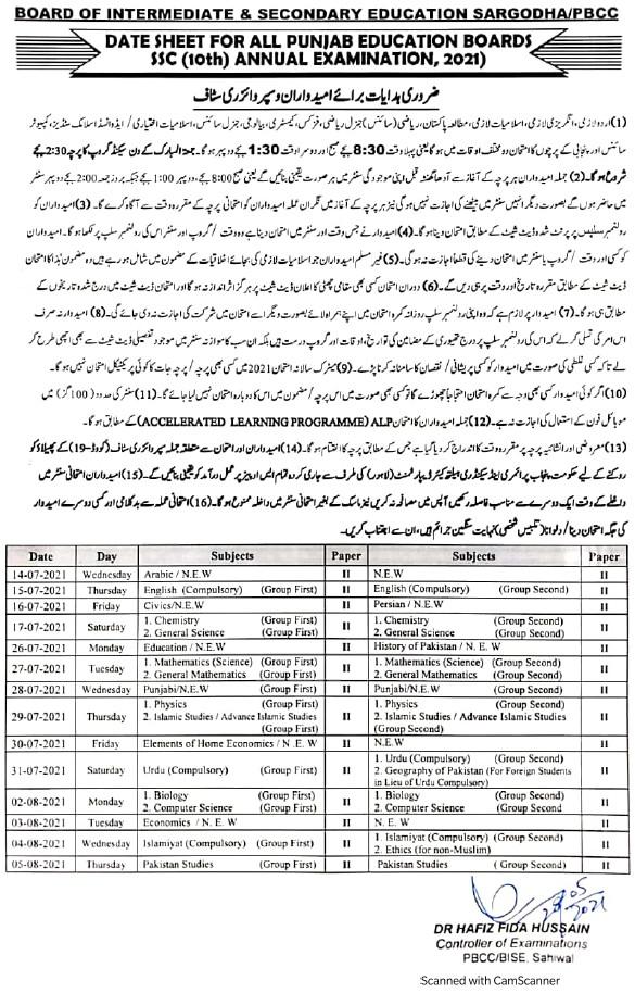 Date Sheet Matric-FA 2021 Announced All Punjab Board Date Sheet 2021