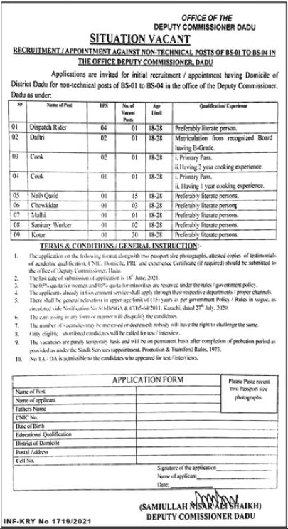 Deputy Commissioner District Office Latest Jobs 2021 in Dadu