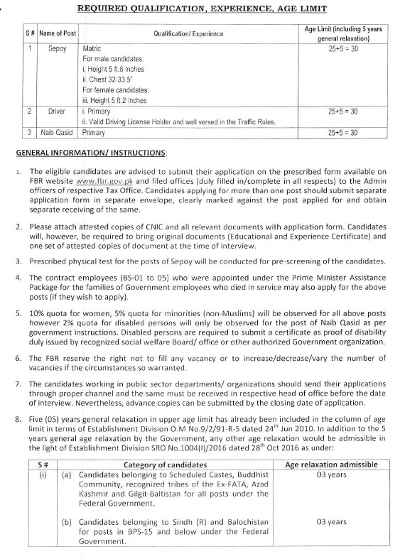 Federal Board of Revenue FBR New Jobs 2021 for Sepoy