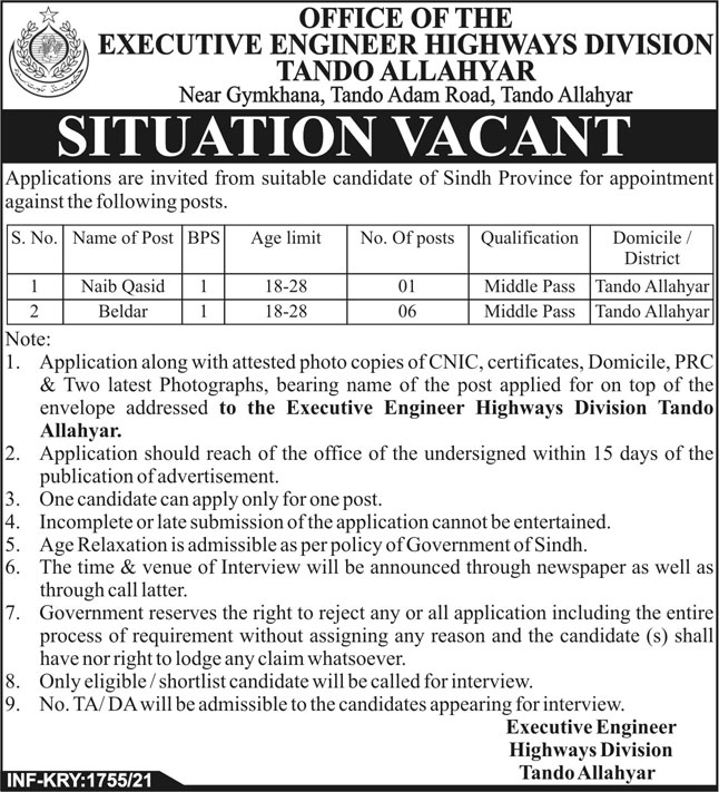 Highways Division Latest Jobs 2021 in Tando Allahyar
