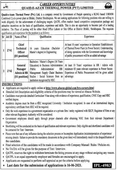 How to Apply QATPL Jobs May 2021 Quaid e Azam Thermal Power