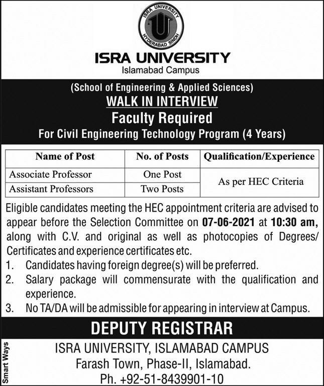ISRA University Islamabad Latest Jobs May 2021