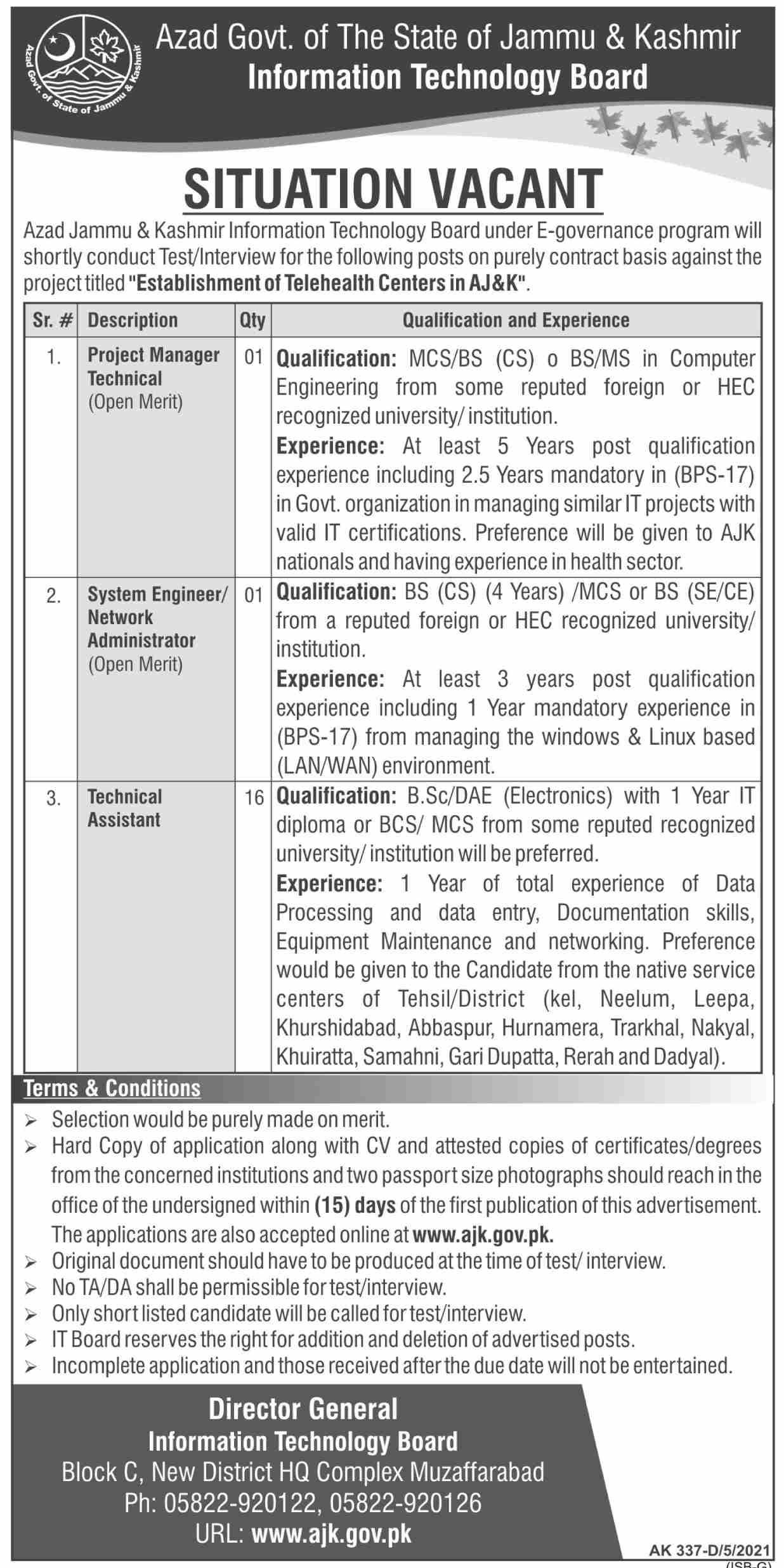 Information Technology Board Project Manager Jobs 2021 in Muzaffarabad