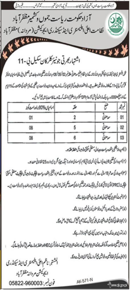 Job in Education Department at Muzaffarabad AJK