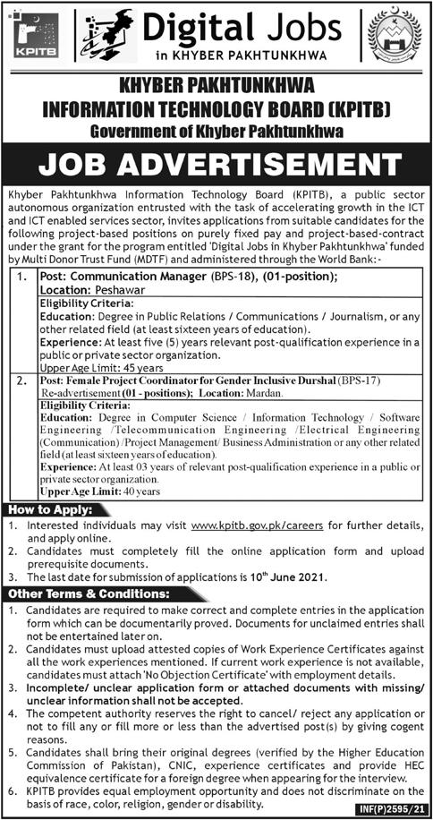 KPK Information Technology Board KPITB Jobs 2021 in Peshawar and Mardan