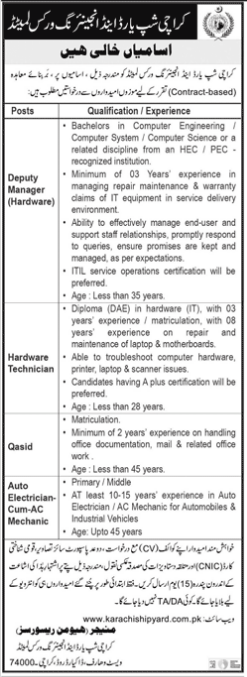 Karachi Shipyard Hardware Technician Jobs 2021