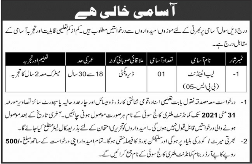 Military College Lab Attendant Sui Jobs 2021