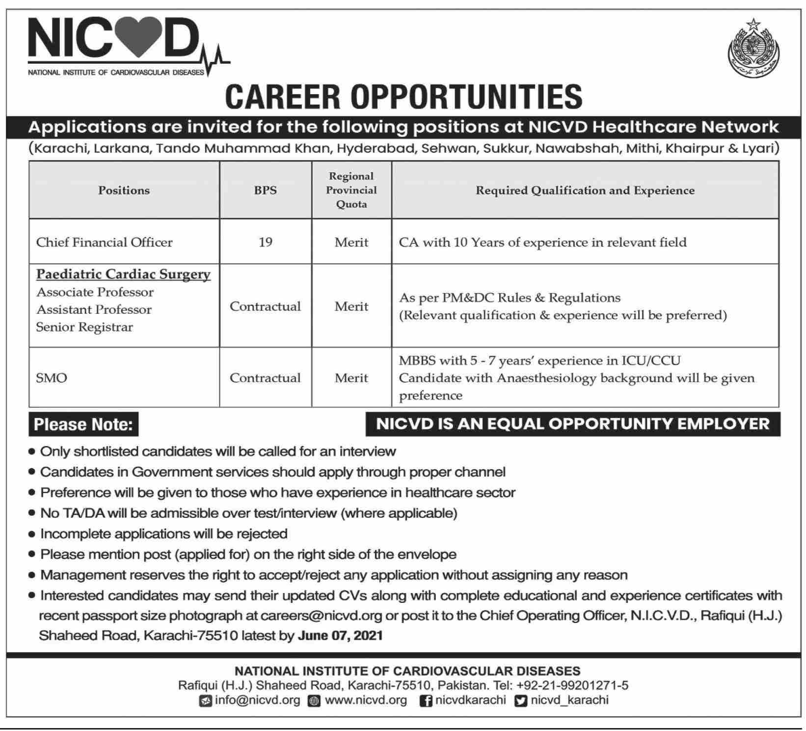 NICVD Teaching and Non-Teaching Staffing Jobs 2021