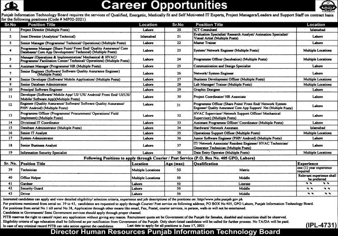 PIT Project Manager, IT Expert Jobs 2021
