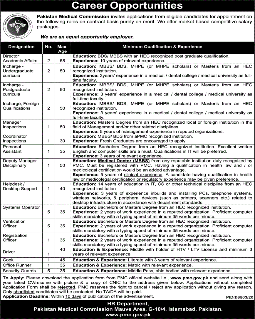 PMC Latest Jobs May 2021 Pakistan Medical Commission
