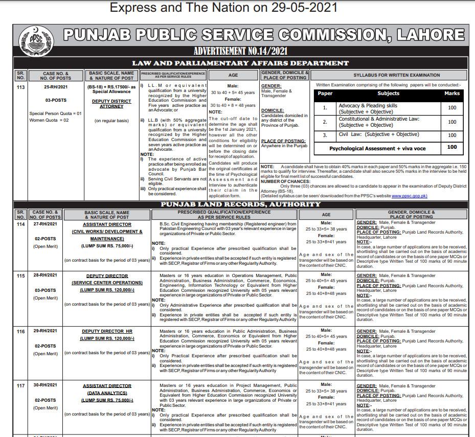 PPSC Jobs 2021 Advertisement No. 14 Public Service Commission