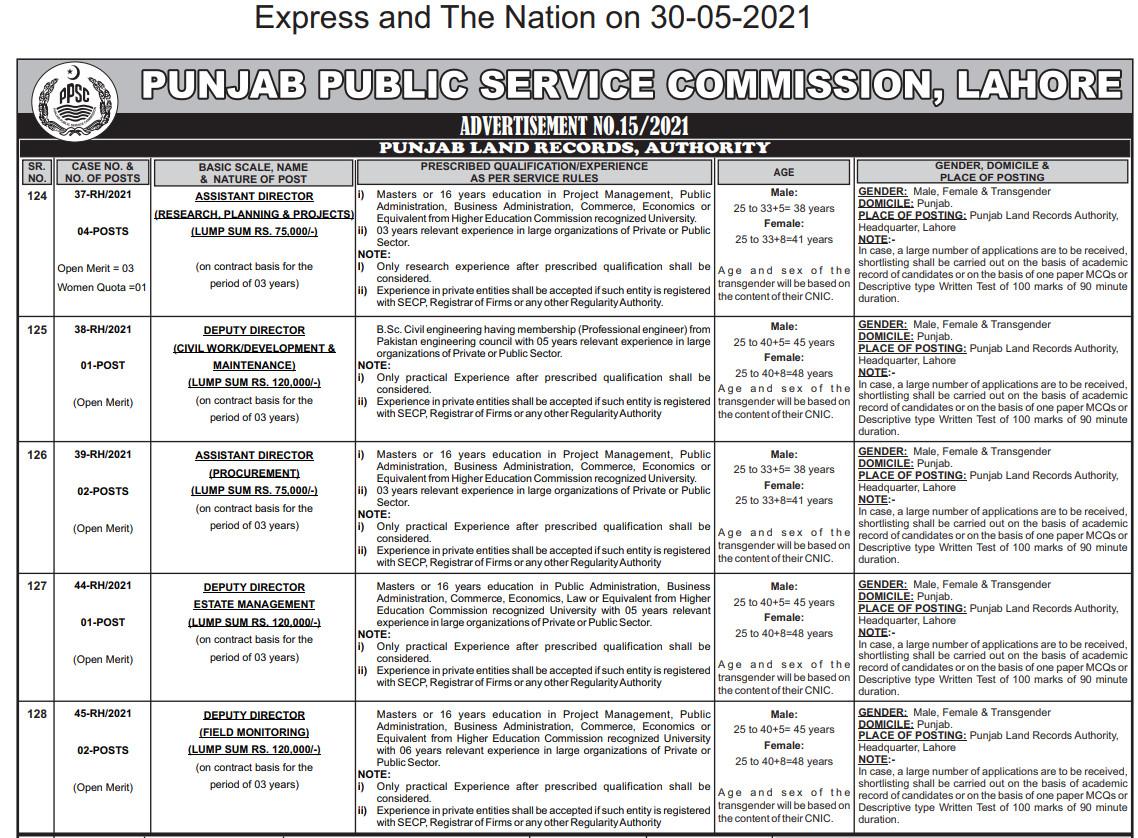 PPSC Jobs 2021 Advertisement No. 15  Punjab Land Record Authority Jobs