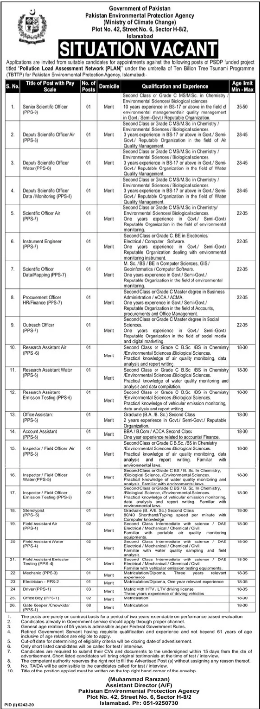 Pakistan Environmental Protection Agency Latest Jobs 2021 in Islamabad