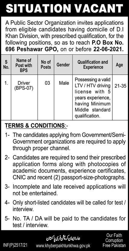 Public Sector Driver Jobs 2021 in Peshawar KPK