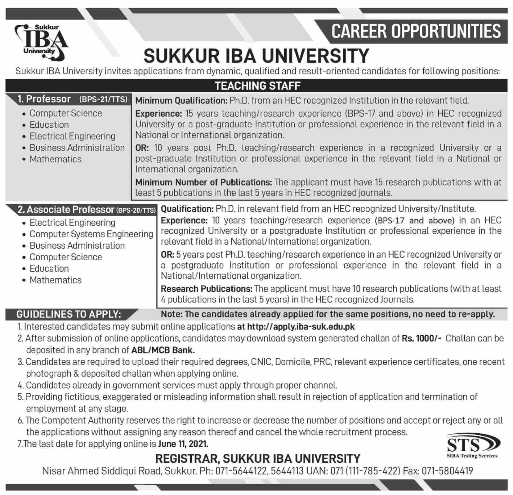 Sukkur Iba University Latest Teaching Jobs In Sukkur 2021