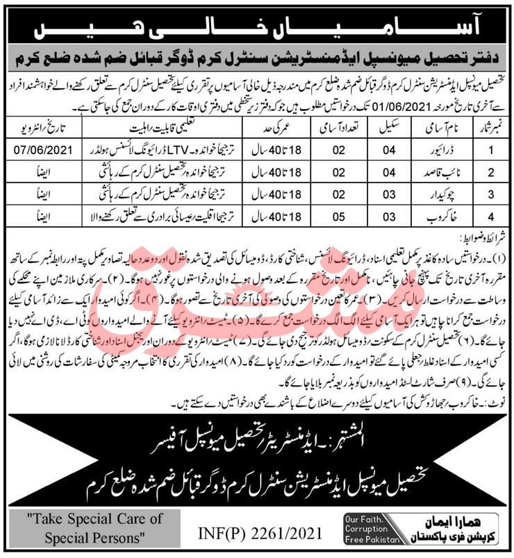TMA Central Kurram Jobs 2021 for Drivers, Chowkidar