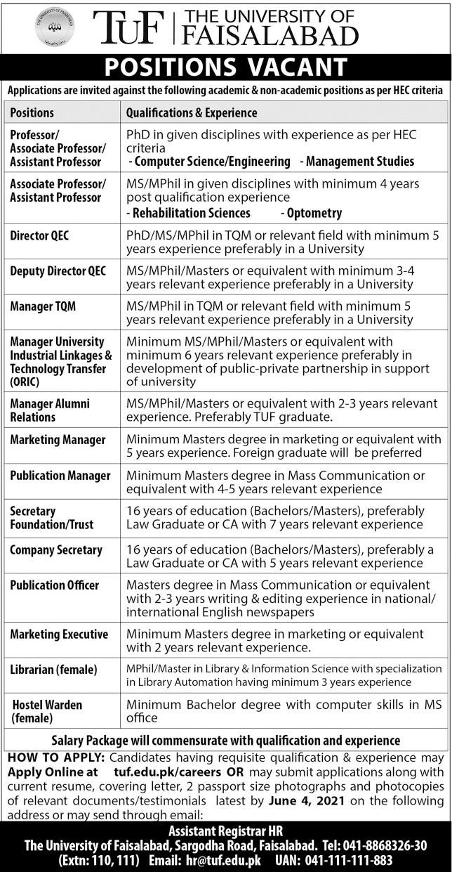 The University of Faisalabad TUF Professor Jobs 2021