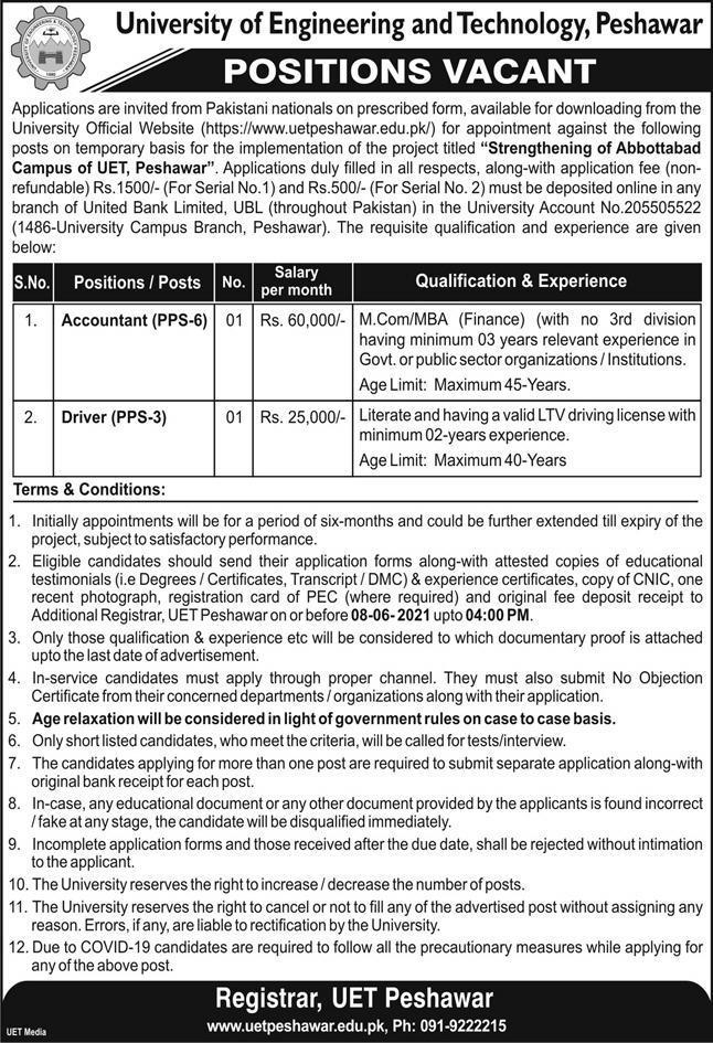 UET Peshawar Latest Jobs 2021 University of Engineering & Technology