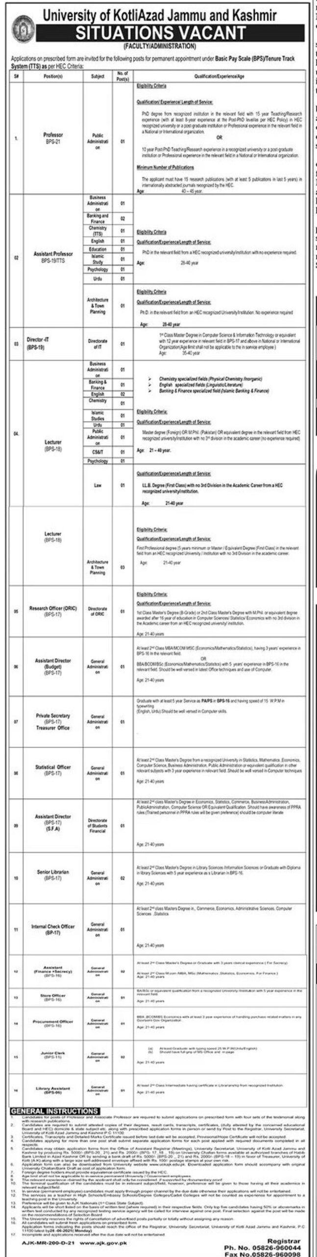 University of Kotli Azad Jammu and Kashmir Latest Jobs 2021