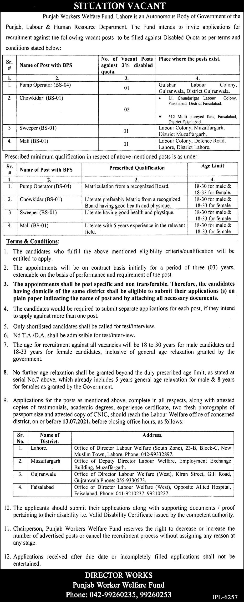 4 Class Jobs 2021 in Punjab Labour and Human Resources Department