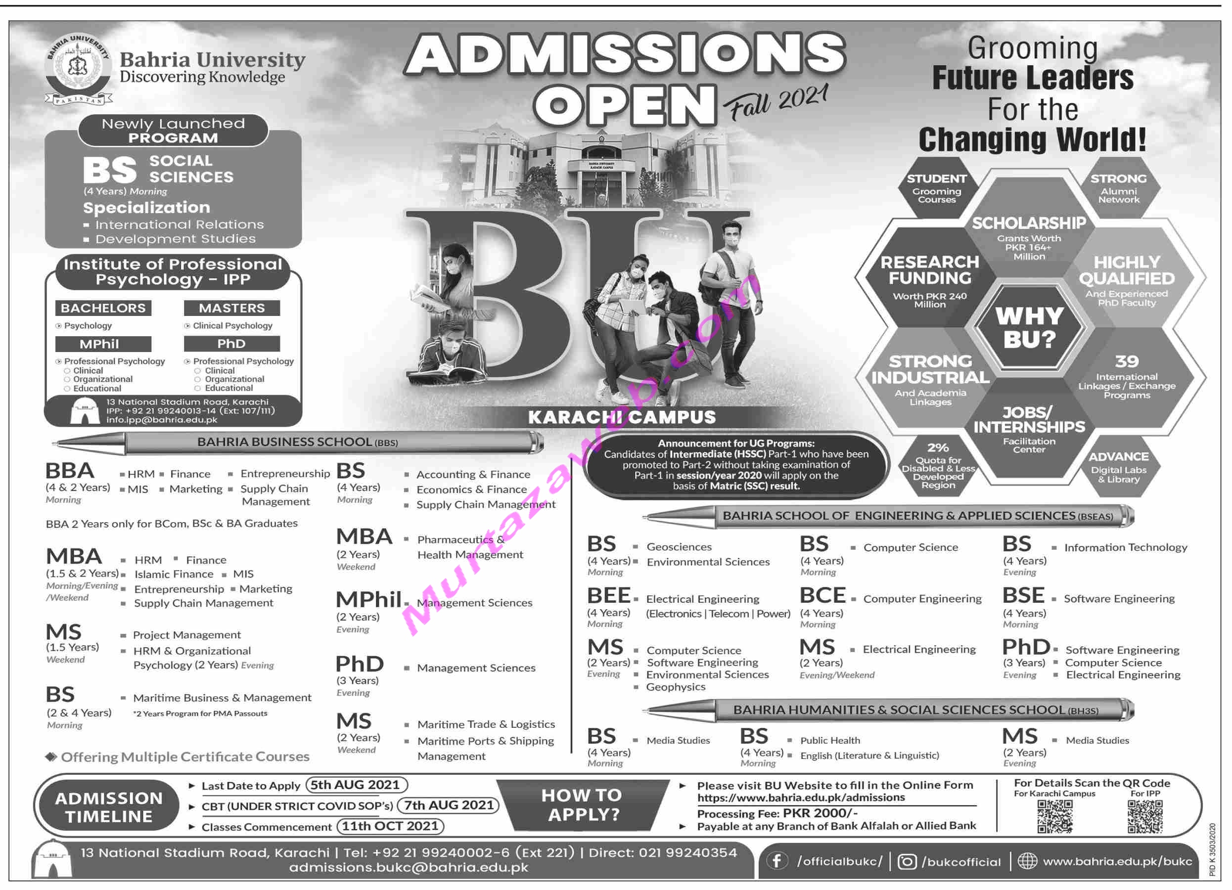 Admissions Bahria Uiversity 2021 for MBA-M.Phil-BBA etc