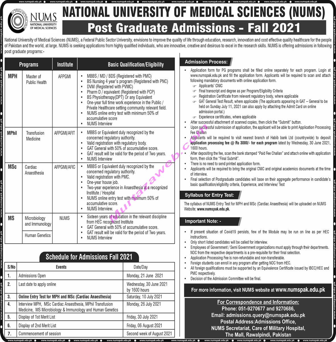 Admissions Nums 2021 for Post Graduate, National University of Medical Sciences