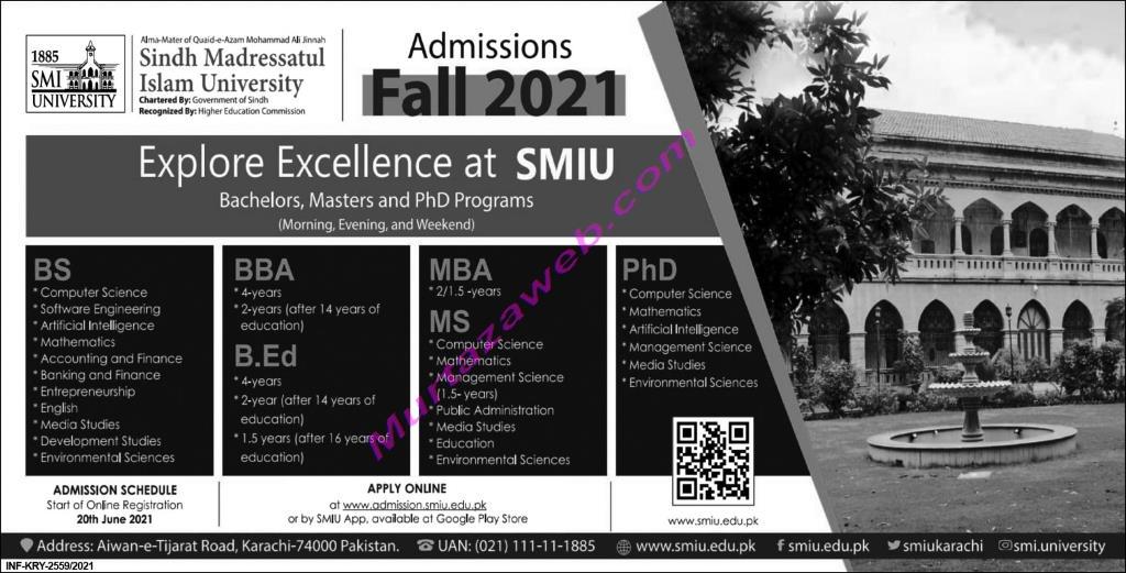 Admissions Sindh Madresatul Islam University 2021 for MBA-BBA-Ph.D-B.Ed