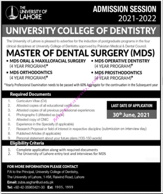 Admissions The University of Lahore for Master of Dental Surgery MDS