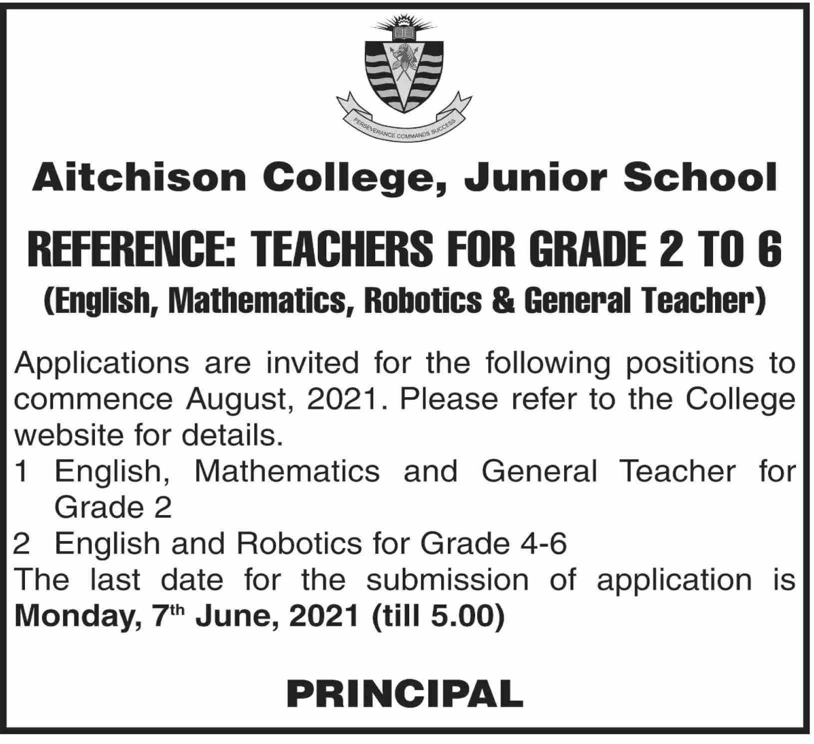 Aitchison College Junior School Latest Jobs June 2021