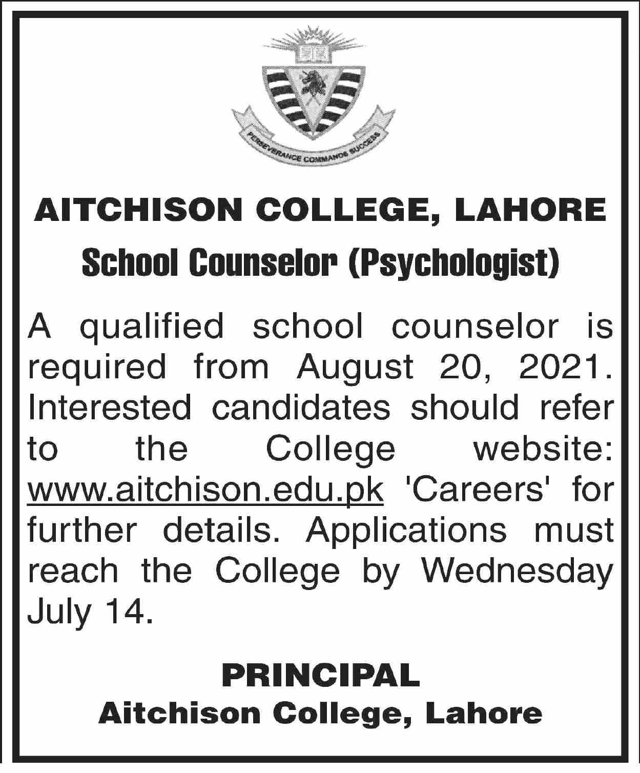 Aitchison College Lahore Jobs June 2021 for School Counselor
