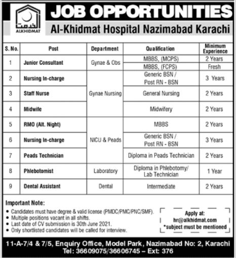 Al Khidmat Hospital Nazimabad Karachi Jobs June 2021 Apply Online