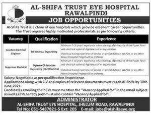 Al Shifa Trust Eye Hospital Rawalpindi Jobs 2021 Latest Advertisement
