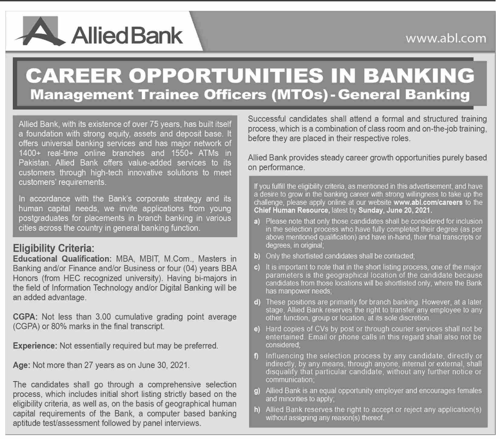 Allied Bank Limited ABL Jobs 2021 Apply Online (50 Posts)