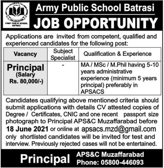 Army Public School Batrasi Jobs June 2021 for Principal