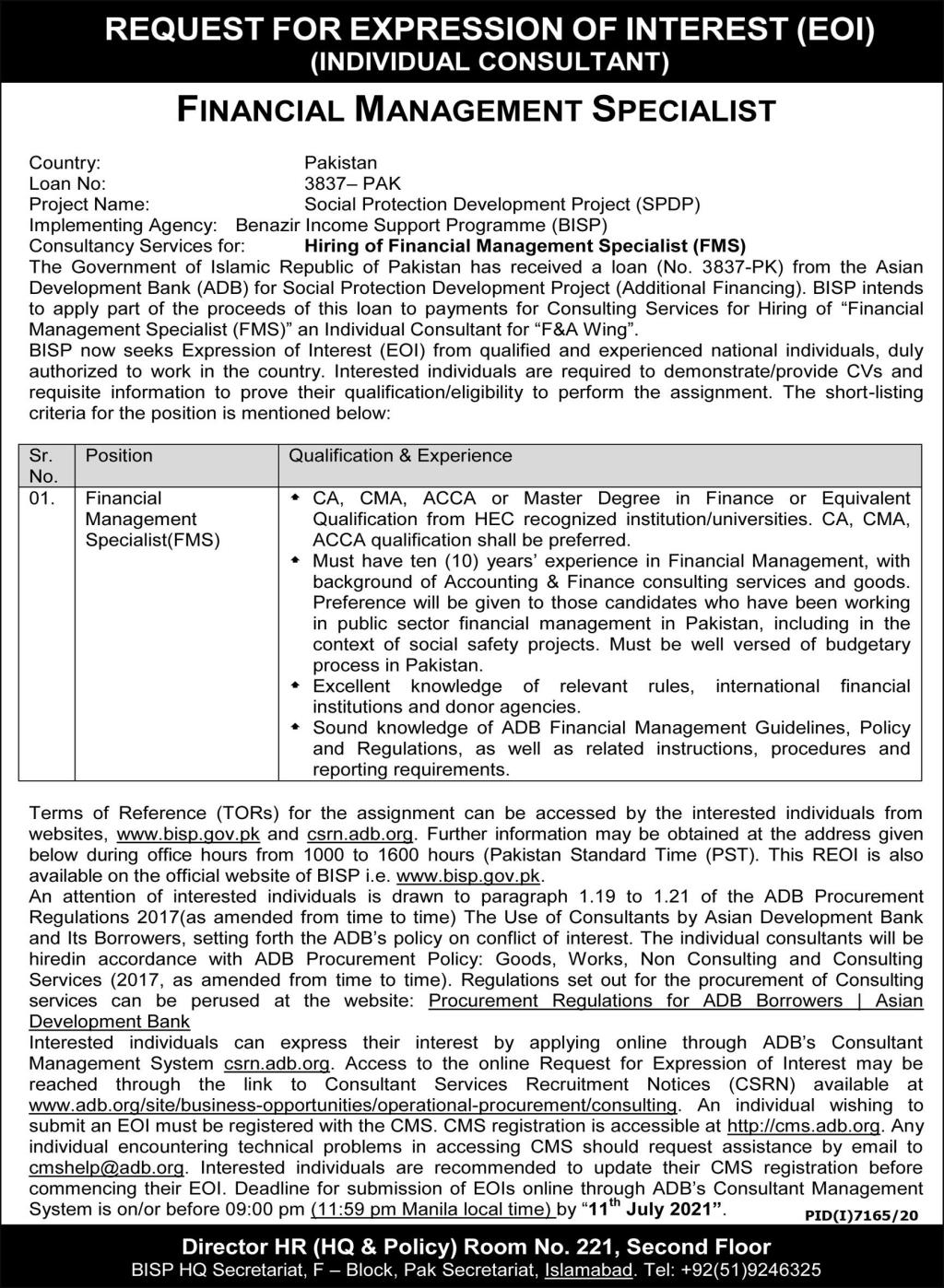 BISP Jobs June 2021 Advertisement - www.bisp.gov.pk Benazir Income Support Programme