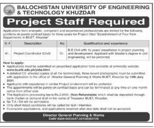 BUET Jobs 2021 Balochistan University of Engineering and Technology Jobs 2021