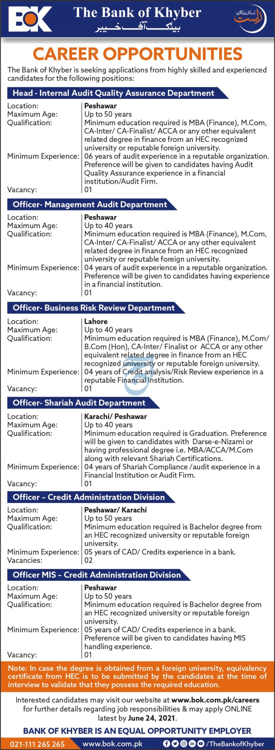 Bank of Khyber BOK Jobs June 2021 in Pakistan - Apply Online via www.bok.com.pk